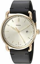 Fossil Commuter Black Leather Strap Beige Dial FS5387 Men's Watch RRP £115