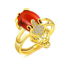 Lucky Red Pixiu Jade Ring 24k Yellow Gold Filled Rings Birthday Gift Resizable