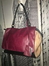 $500+ Gianni Chiarini Leather Handbag Colorblock Tote Black Beige Burgundy Italy
