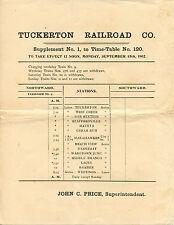 VINTAGE 1902 NEW JERSEY TUCKERTON RAILROAD Co. TIME-TABLE SHEET