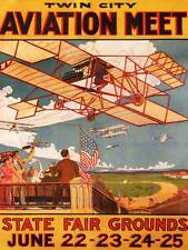 Exhibition AIRSHOW AVIATION TWIN CITY PLANE USA Vintage Werbung Plakat Kunst 1661py