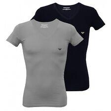 Emporio Armani 2-Pack Stretch Cotton V-Neck Men's T-Shirts, Grey/Navy