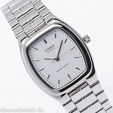 Casio MTP1169D-7A Mens Silver Stainless Steel Analog Dress Watch White Dial NEW