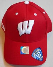 WISCONSIN BADGERS TOP OF THE WORLD BIG10 ONE SIZE MEN'S CAP HAT NWT RED WHITE