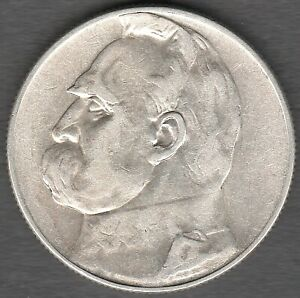 Poland 5 Zlotych 1935  Pilsudski , High Grade  UNC ?? Silver coin   (0221) coins