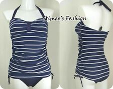 NEXT NEW UK 10 LADIES NAVY BLUE NAUTICAL TANKSUIT SWIMSUIT SWIMMING COSTUME