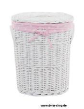 Wäschekorb Wäschetruhe Weide weiß baby rosa 37x26x48cm 22WOval-a
