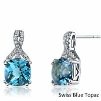 18k White Gold Plated Swiss Blue Topaz-1.50 tcw Solitaire Stud Earrings