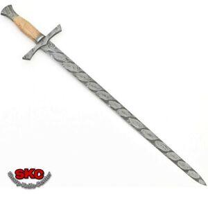 New Handmade Beautiful Pattern Damascus Steel Sword with Leather Sheath