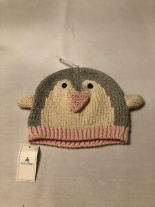 NWT BABY GAP Pink Gray Penguin Sweater Knit Beanie Hat Baby Girl 6-12m.
