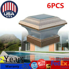 6 Outdoor Garden Solar LED Post Deck Cap Square Fence Light Landscape Lamp 4