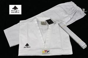 Taekwondo Anzug White V-Neck TKD Uniform WT Pine Tree Dobok mit Gürtel 110-200cm
