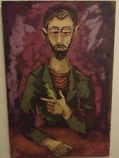 Mid Century Portrait Painting Signed Henryk Jarosz Cool Dude & Canary Bird