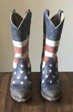 Roper Women's American Flag Leather Cowboy Boots-7.5