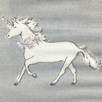 Cynthia Rowley Unicorn Floral Pillowcase Set Of 2 Pair Gray White Pink Cotton