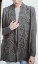 LADIES CABLE CARDIGAN/JACKET KNITTING PATTERN. Small - 2xl