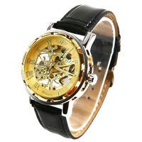 Winner - Herrenuhr - Selbstaufzug mechanische Uhr - Leder armbanduhr - gold K9Y4