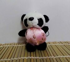 Cutie Plush Panda in Chinese Costumes Cell Phone Charm Mascot Light Pink