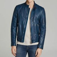 Blue Leather Jacket Mens Lambskin Soft Genuine slim fit motorcycle Biker 326
