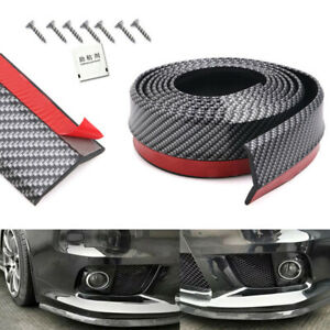 2.5M Carbon Fiber Front Bumper Lip Car Splitter Valance Chin Skirt Protector Kit