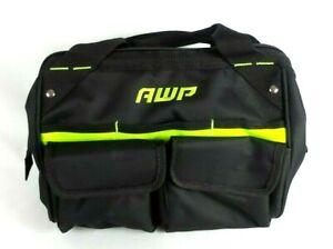 AWP 12-in Zippered Closed Tool Bag Medium Duty Black Neon Green