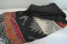 100% Cotton Throw Black Orange Blanket Aztec 180cm x 150cm Indian Chenille Soft