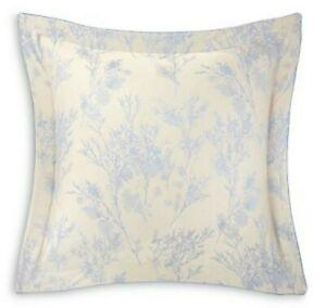 Yves Delorme Bois 2 Euro Shams Cases Jacquard Floral Pierre Opalia Blue Sateen