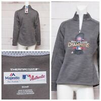 NWT Womens Chicago Cubs Majestic 2016 World Series Champions Pullover 1/4 Zip S