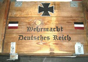 Holzkiste Wehrmacht Truhe Bank Tisch Möbel Weinkiste Shabby-Chick-Vintage  EK