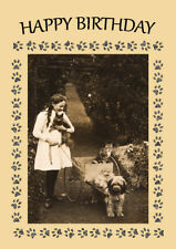 TIBETAN TERRIER GIRL AND CART DOG BIRTHDAY GREETINGS NOTE CARD