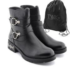 Botas mujer TWIG T9539 botines zapatos tachuelas calzado negro
