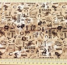 Ironwood Ranch Clipart on Ivory Rodeo Boots Spurs  Fabric-Wilmington-By the Yard