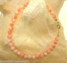 """5mm Natural Western Pacific Round Pink Coral Bead 14k Gold Plated Bracelet 7"""""""
