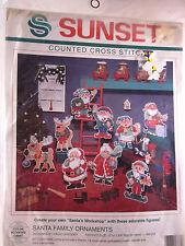 Dimensions Sunset cross stitch kit Santa's Workshop Ornaments 18334 NIP Vintage