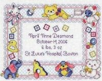 Nursery Announcement Birth Sampler Counted Cross Stitch Kit Needle Treasures
