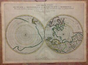 ARCTIC & ANTARCTIC POLES 1657 by NICOLAS SANSON LARGE UNUSUAL ANTIQUE MAP