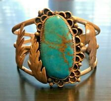 """Large Vintage Navajo Sterling Silver Turquoise Stone 6.5"""" Cuff Bracelet"""