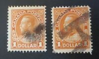 """CANADA STAMPS #122 1925 USED """"KGV ADMIRAL ISSUE"""" $1.00 1 HAS REGISTERED CANCEL"""