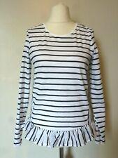 NEXT Ruffle Hem Long Sleeve Stripe Top Size 6 BNWT RRP £19.99 White Uk Freepost
