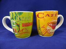 """2 Huge Blue Harbor Coffee Mugs Cups 5"""" Tall 24 oz, Paris Venice Cafe Latte"""