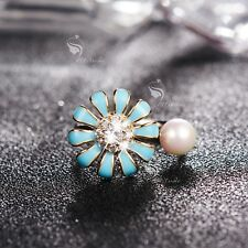 18K WHITE GOLD MADE WITH SWAROVSKI CRYSTAL PEARL OPEN RING SPINNING BLUE FLOWER