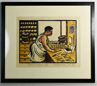"14"" Signed Richard Coze Print Kitchen Decor French Chef Baker Art Gift Chocolat"