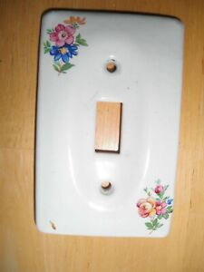 Vintage Art TILE Porcelain Switchplate Single Toggle SWITCH COVER Roses Flowers