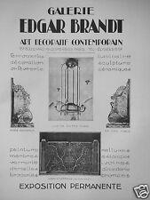 PUBLICITÉ 1927 GALERIE EDGAR BRANDT PORTE ET LUSTRE EN FER FORGÉS - ADVERTISING