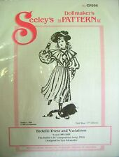 """Seeley's Dollmakers Pattern CP506 - BRETELLE DRESS & Variations fits 17"""" doll"""