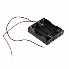 Plastic Battery Storage Case Box Holder for 4-AAA Battery with 6'' Cable Lead DE