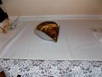 Murano Glass White & Brown Cased Art Glass Bowl / Ashtray Copper Flecks