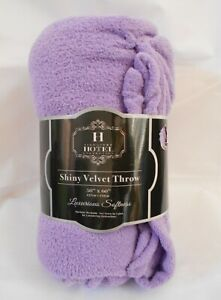 Hotel Collection Shiny Velvet Throw Light Purple 50 X 60 Super Soft
