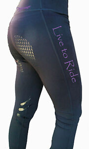 **HEELS DOWN CLOTHING** RIDING PERFORMANCE TIGHTS* LIVE TO RIDE PRINT..