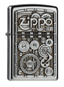 Zippo Feuerzeug Gear Wheels (Zahnräder) Chrome satin Nr 2004497 Collection 2015